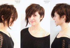 Asimetrična smeđa frizura