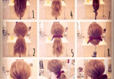 Jednostavna frizura sa mašnicom