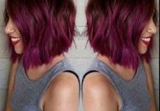 Ljubičasta kratka bob frizura