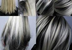 Crna kosa sa sivim pramenovima